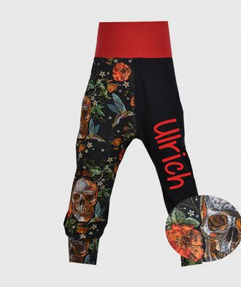 Cosy Pants Flowers And Skulls Black/Red
