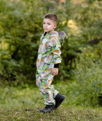 Waterproof Softshell Overall Comfy Smiley Dino Jumpsuit