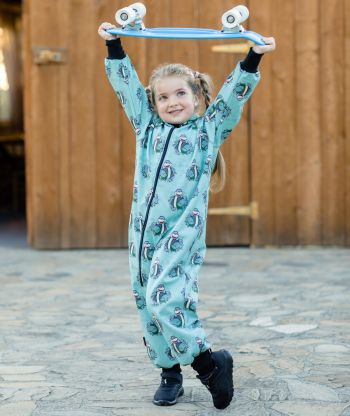 Waterproof Softshell Overall Comfy Joyful Dino Mint Jumpsuit
