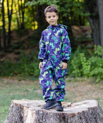 Waterproof Softshell Overall Comfy Dark Blue Dino Jumpsuit