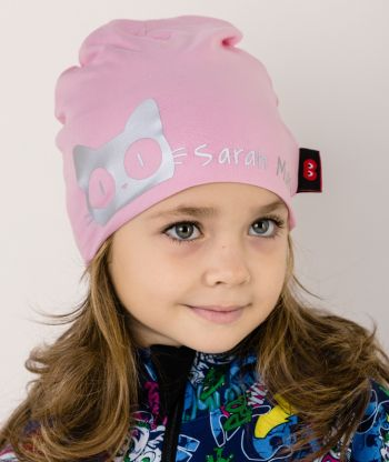 Baggy Hat Reflex Cat Pink