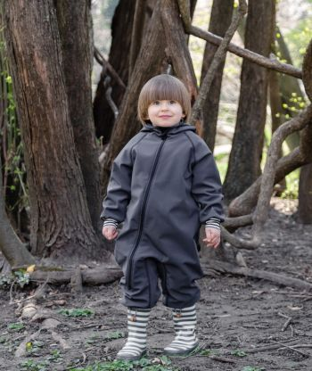 Waterproof Softshell Overall Comfy Anthracite Striped Cuffs Jumpsuit