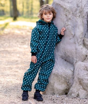 Waterproof Softshell Overall Comfy Stars Green Jumpsuit