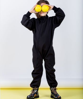 Waterproof Softshell Overall Black Bodysuit