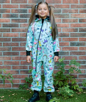 Waterproof Softshell Overall Comfy Unicorns Fantasy Jumpsuit