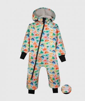 Waterproof Softshell Overall Comfy Colorful Dinos Jumpsuit