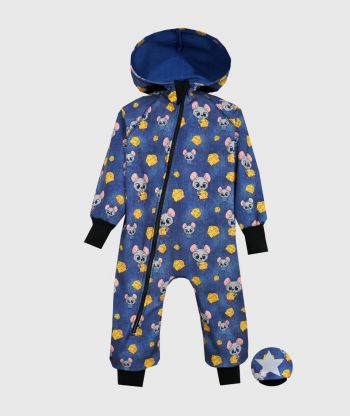 Waterproof Softshell Overall Comfy Mice Blue Jumpsuit