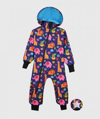 Waterproof Softshell Overall Comfy Animals Drawings Jumpsuit